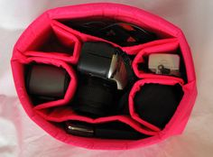 PreOrder DSLR Camera Bag Insert in Hot Pink - Lens Sleeves  - Custom Sizes. $40.00, via Etsy.
