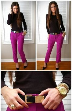 I love this look. The color palette is wonderful with the purple & black and pops of gold.  Would be perfect for work.