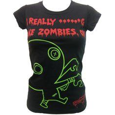 Newbreed Girl Fricken Zombies T-Shirt   Gothic Clothing   Emo clothing   Alternative clothing   Punk clothing - Chaotic Clothing, found on polyvore.com