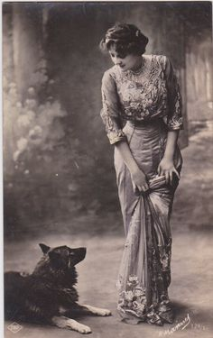 Edwardian lady and her pet dog…French postcard