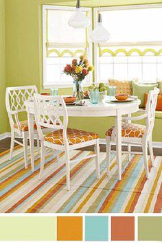 citrus dining room #green #orange
