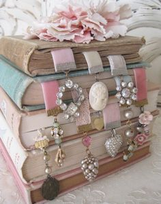 Bookmarks made from old earrings.