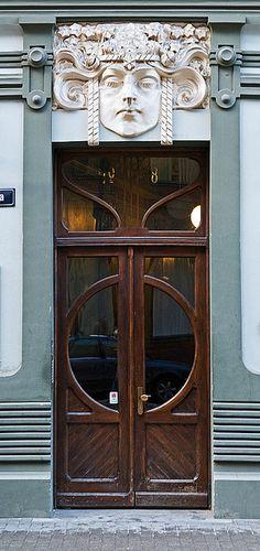 Art Nouveau door in Riga, Latvia