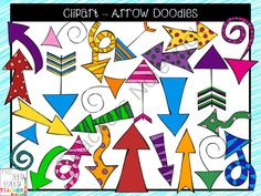 Clipart - Arrow Doodles from Jamie Harnar on TeachersNotebook.com -  (36 pages)  - Super cute set of arrow clipart doodles.