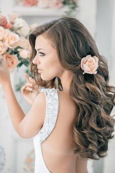 backless dresses, long curls, colors, long hair, hair wedding, the dress, hair looks, wedding hairstyles, flower