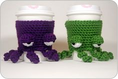 Free pattern! Octopus Coffee Cup Cozies!