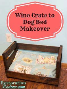Winecrate-turned-Dog-Bed