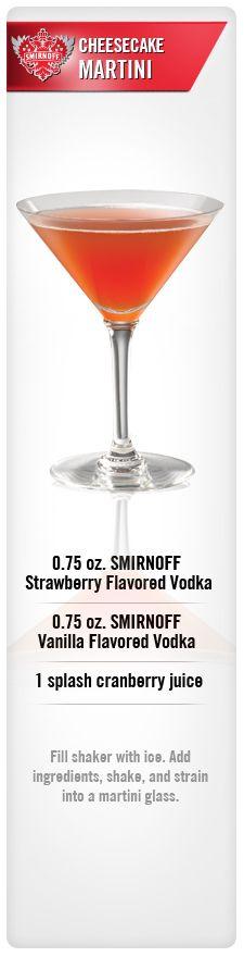 Cheesecake Martini drink recipe with Smirnoff Strawberry Flavored Vodka, Smirnoff Vanilla Flavored Vodka & splash Cranberry Juice. #Smirnoff #vodka #Strawberry #Vanilla #Cranberry #drinkrecipe