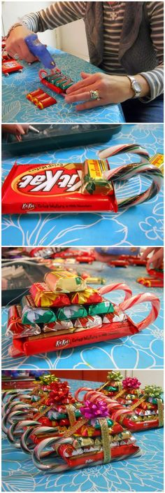 candy sleighs may have to try these when Peyton is school age for class Christmas parties.