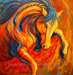 """""""Apollo"""" by Theresa Paden, Acrylic painting on canvas ~ 36"""" x 36"""""""