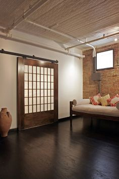 Another idea for some walls. They can open up big arches creating an open feeling. Maybe for the office, the bedroom, or even the kichen. Pinned from Houzz.com. Designed by Rodriguez Studio Architecture PC