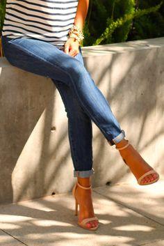 Heels, stripes, jeans CAbi spring '14 Sailing tee & ruby jean or CAbi new Brett jean #PinAtoZ