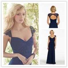 Hot&Sale Sweetheart Long Dark Navy Lace Cap Sleeve Bridesmaid Dresses 2014 Sexy Backless Floor Length Party Gown Vestidos $116.99