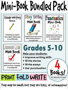 Looking for some quick references for your students? Help your students improve their writing skills with these four mini-books: grammar, punctuation, story writing, and essay writing! #English #Writing #Foldable
