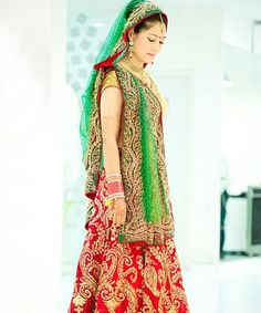 Red and green combination bridal lehenga, indian wedding dress