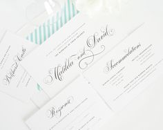 Wedding Invitations with Aquamarine Envelope Liner