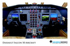 """Universal Avionics: Dassault Falcon 50 Aircraft - (1) Display Suite: 4 EFI-890R 8.9"""" Flat Panel Displays; (2) Situational Awareness: 2 Vision-1 Synthetic Vision Systems, 1 Terrain Awareness and Warning System (TAWS); (3) Flight Management: 2 UNS-1Fw FMSs with 5"""" CDUs; (4) Radio Tuning and Communications: 2 Radio Control Units (RCU)"""