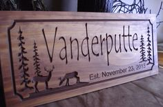 Personalized Cabin Signs Rustic Family Last Name Welcome Pine Tree Pine Cone Deer Silhouette carved Wooden Sign Cottage Cabin Decor Doe Buck... cottag, mountain cabin, futur cabin