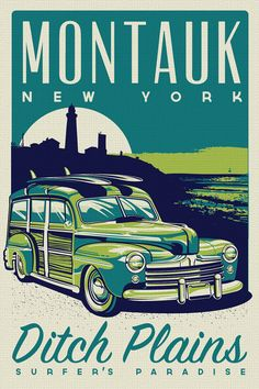 """this is 100% original artwork Montauk Ditch Plains Surfer's Paradise Retro Vintage Surf Poster Screen Print new york  hand screen printed 3 color design.  ARTWORK SIZE IS 12""""X18""""  PRINTED ON VANILLA HEAVY COLD PRESSED ARTBOARD (VERY THICK)  limited run of 50  available on etsy $19.99"""