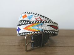 Beaded Leather Navajo Belt 2732 par VioletsAtticVintage sur Etsy, £15.00
