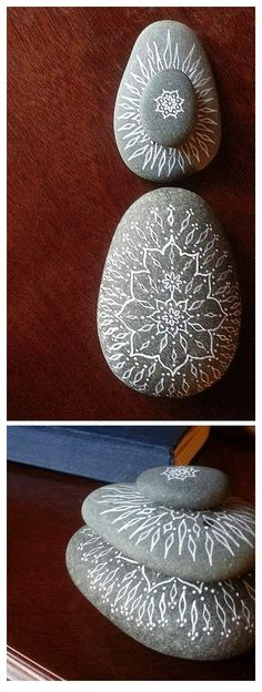 Snag a river stone mandala on #Kickstarter before 11/10/14 (hand drawn in white ink by Jenny Hoople of Authentic Arts)