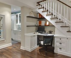 Nicely designed under stairs office alcove