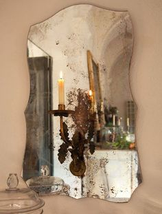 Antique Candle Sconce Mounted on an Old Mirror!  Beautiful!