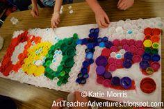 bottle caps, art teacher, 6th grade art, bottle cap art, bottl cap, earth day, artwork, water bottles, recycled art projects