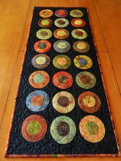 Modern Table Runner - Batik Circle Table Runner - Quilted Table Runner -