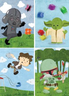 sooo cute...wish we had another baby to do this for...hubby would so love it =)  Baby Star Wars  Set of eight 5x7 prints by ginormousrobot on Etsy, $57.00