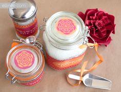 DIY Bath Salts by ellinee: Handmade bath salts packaged in beautifully labeled jars. For gifting or pampering yourself! #DIY #Bath_Salts