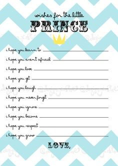 Baby Shower Game - Wishes for the baby boy - Little Prince - Crown - Chevron - Keepsake - DIY Printable PDF File