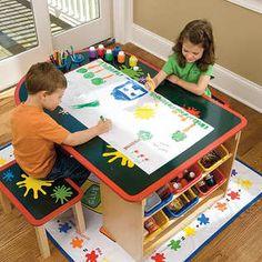 kids art table on pinterest kids craft tables kids art. Black Bedroom Furniture Sets. Home Design Ideas