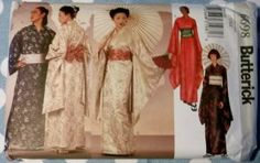 Fun and comfortable for Him and Her   Easy Unisex Japanese Robe Kimono Sash Obi Butterick 6698 Sewing Pattern, Sizes XS to XL, Uncut