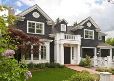 Tricorn Black SW interior design, picket fences, cape cod style, white, exterior colors, paint colors, curb appeal, house colors, dream houses