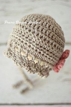 Crochet Baby Girl Bonnet Photo Prop by PBlossomBoutique