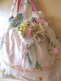Vintage Embroidered linen bag, via Flickr.