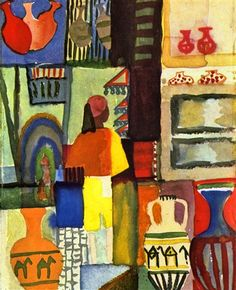 Traders with Jugs, August Macke - a  needlepoint kit from The Silk Mill complete with all the silks.