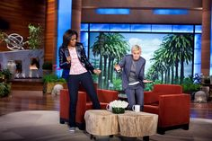 "First Lady Michelle Obama and Ellen DeGeneres dance during a taping of ""The Ellen DeGeneres Show"" marking the second anniversary of the ""Let's Move!"" initiative, in Burbank, Calif., Feb. 1, 2012. (Official White House Photo by Chuck Kennedy)"