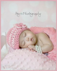Newborn Baby Hat, Baby Girl Hat, Baby Girl Photo Prop, Rose, Pink, 3 to 6 Months. $20.00, via Etsy.