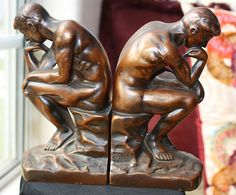 Art Deco Nuart Metal Creations NYC Thinker by HopesChestVintage