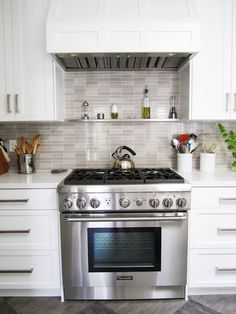 Mini subway tile backsplash