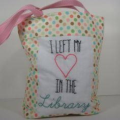 I Left My Heart in the Library Tote Bag by BobbyPinStitches, $42.00