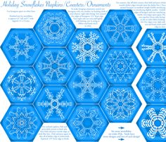 Calligraphic Snowflake napkins (or coasters, or ornaments...) in ice blue fabric by weavingmajor on Spoonflower - custom fabric