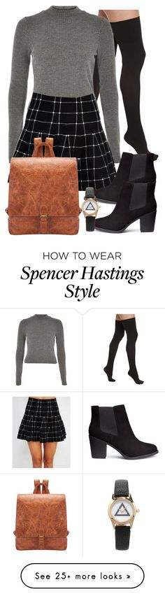 """Spencer Hastings inspired outfit with black over-the-knee socks"" by liarsstyle on Polyvore featuring Commando, River Island, Wet Seal, H&M, Forever 21, school, college and WF"