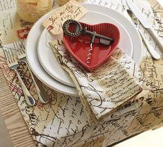 LOVE LETTER TABLE RUNNER, NAPKINS & CANDLES