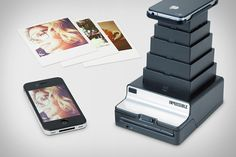 IMPOSSIBLE INSTANT LAB    Forget AirPrint — if you're looking for a way to get your photos out of your iPhone and onto some paper, the Impossible Instant Lab ($230) can get the job done. This crazy contraption uses nothing more than your phone's screen to expose Polaroid-style instant film. A collapsable design ensures that you'll have it with you when you need it, the built-in battery can handle 150 pics on one charge, and it's compatible with film for Polaroid 600 and SX 70 cameras.