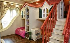 Love creative design for bunk beds! This one is especially sweet for girls.