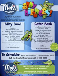Introducing new BOWLING Birthday Parties at Mel's Lone Star Lanes in Georgetown, TX.  Enjoy bowling on your private lanes, pizza & more!  Our party host takes care of everything for you.  Just remember the Cake, the Camera and the Kid and we'll take care of the rest.