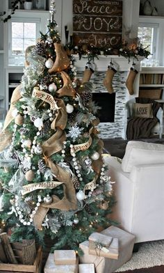 I have all these same ornaments i did silver every year with blue but this year iam doing me n erics tree like this! Jus got the burlap the other day!!! Burlap Christmas Tree Decorations